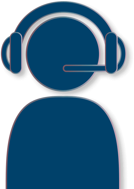 icon of person with headset on representing customer support