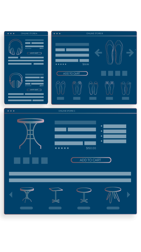 mobile, tablet, and desktop view of product descriptions